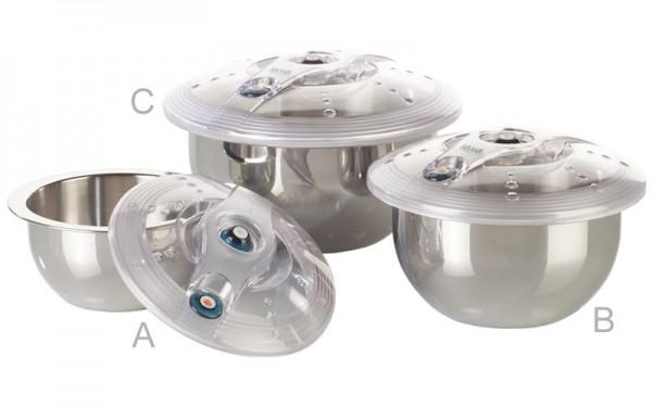 ES-Line Behälter aus Edelstahl - 3-er Sparset (jede Größe 1 x enthalten)