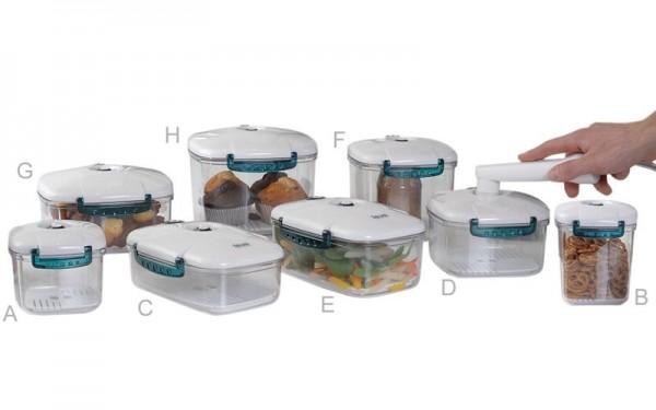 New-line - Kunststoff Vakuumbehälter - Eckig 650 ml - 120 x 130 x 105 mm (A)