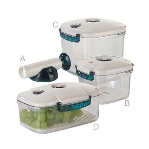 New-line - Kunststoff Vakuumbehälter SET (4-teilig inkl. Handpumpe)